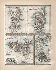 1899 VICTORIAN MAP ~ SARDINA CORSICA SICILY ENVIRONS VENICE LAGOONS