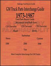 Chevy Blazer Parts Interchange Manual 1973 1974 1975 1976 1977 1978 1979 1980