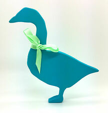 BLUE GOOSE PAINTED WOOD FIGURE CHRISTMAS DECORATION SHABBY CHIC HOME