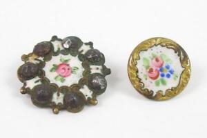 2 Antique Brass And Enamel Shank Buttons Pink Rose Design