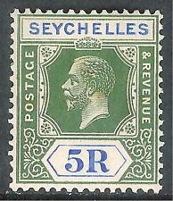 Seychelles 1921 green/blue 5r Die II multi-script CA mint SG123