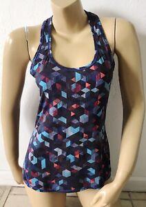 ATHLETA Womens Size Small Racer Back Sleeveless Yoga Tank Top Shirt Retro Print