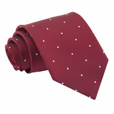 Burgundy Mens Tie Woven Pin Dot Dotted Formal Classic Standard Necktie by DQT