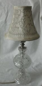 vintage cut clear glass  dresser/vanity lamp with shade