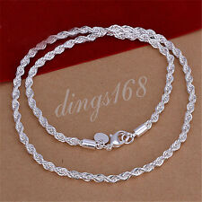 Men&Women's 18K White Gold Filled 4MM Wide thick Rope 24inch Chain Necklace Y445