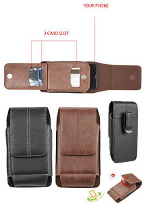 Cell Phone Pouch Vertical Leather Case Cover Belt Clip Holster with 3 Card Slots