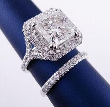 New 1.90 Ct Princess Cut Diamond Twin Halo Engagement Ring Set F,VVS1 GIA 14K