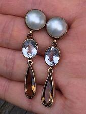 Stephen Dweck bronze over sterling silver 925 pearl, rock crystal earrings