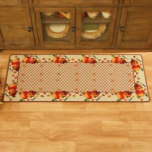 Harvest Pumpkin Chickadees Thanksgiving Kitchen Home Floor Accent Runner Rug