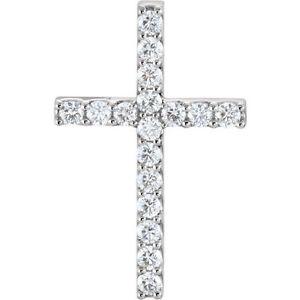 "Diamond Cross 18"" Necklace In Platinum (3/4 ct. tw"