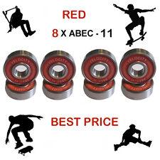 8 RED Abec 11 Wheel bearings Skateboard stunt scooter inline Roller skate 9