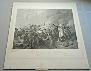 """Rare Ca 1856 Thomas Phillibrown Steel Engraving """"The Battle of New Orleans"""""""