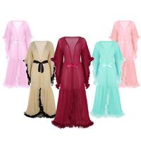 Damen Transparent Maxi langes Kleid Babydoll romantische Nachtwäsche Schlafanzug