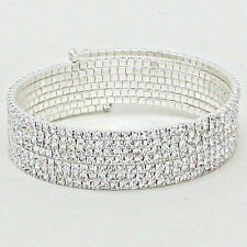 "Rhinestone Bracelet Bangle 7 Row Coil Wrap Around 2 1/4"" Wide SILVER Evening"