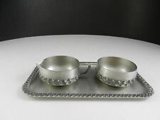 "Perletinn Norway Pewter Cream Sugar Tray Set Textured Tray 7 5/8"" L PAT"