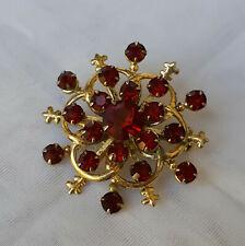 Vintage ART DECO ~ FLORAL Design STAR Burst BROOCH ~ RED Stones