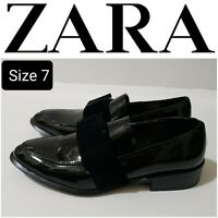 New ZARA Fashion Women's Patent Leather Black Loafers Size 38/7