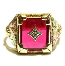 10k yellow rose green gold diamond imitation ruby mens gents ring 7.4g vintage