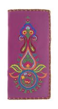 LAVISHY INDIAN PAISLEY EMBROIDER LARGE WALLET VEGAN FAUX LEATHER NEW 97-187 PRPL