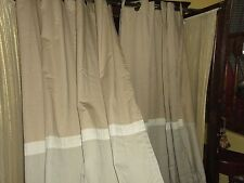 WOOLRICH KHAKI BLUE & TAN GROMMET CHINO (PAIR) LONG PANELS CURTAINS BOYS 50 X 90