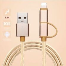 Reversible Micro USB & Lighting Nylon Braided Cable Charger for Android / iPhone