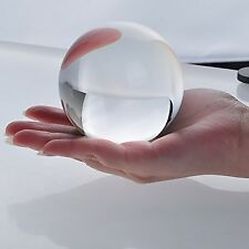 "New Clear Crystal Ball Sphere Asian Quartz 80mm (3"") + Free Wooden Stand"
