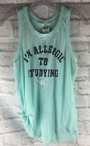 Victorias Secret PINK Womens XS Allergic to Studying Tank Top Green Racerback