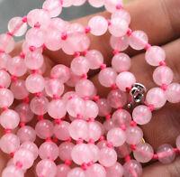 "Fine natural 6 mm pink rose quartz beads Gemstone Necklace 36 """