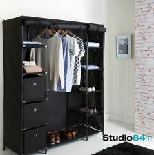 Modern Stylish Luxury Deluxe Non-Woven Canvas Large Black Wardrobe