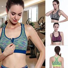Women Running Gym Yoga Padded Fitness Tops Tank Workout Zipper Stretch Sport Bra