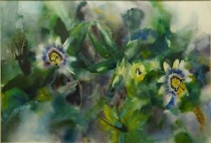 TONY PORTER B.1945 SIGNED ORIGINAL FLORAL WATERCOLOUR PAINTING, PASSION FLOWERS