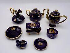 Limoges Porcelain Miniature Set Cobalt Set of 8