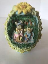 New listing Vintage Easter Egg Diorama Bunny Rabbit Picnic Figurine Collectible 3.5�