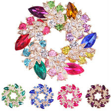 New Fashion Shining Rhinestone Gold Plated Redbud Flower Pin Brooches Jewelry LD