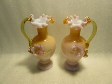 Pair Of Vintage Art Glass Amber Vases With Applied Flowers