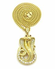 "ICED OUT COBRA PENDANT 6mm/36"" MIAMI CUBAN CHAIN HIP HOP NECKLACE CP12G"