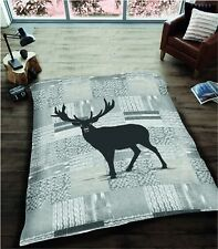 Animal Stag Grey 3d Blanket Mink Printed Fleece Sofa Couch Throw Double Size