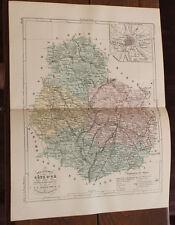 1850 Carte Géographique Atlas époque couleur Département 21 Côte d'Or Dijon