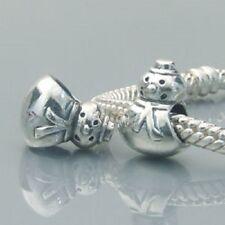 Genuine SNOWMAN WINTER 925 Sterling Silver Charm Bead Fits European Bracelet