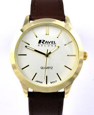 Ravel Deluxe Mens Classic Quartz Watch with Brown Real Leather Calf Grain Strap