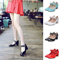 Women Patent Leather Block Mid Heel Buckle Ankle Strap Mary Jane Shoe Dress Pump