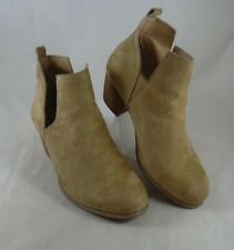 Torrid Beige Tan Camel Faux Suede Ankle Booties Womens 11W Round Toe Boots V-cut