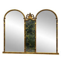 Vintage Large French Rococo Gold Giltwood Victorian Triple Arch Mirror