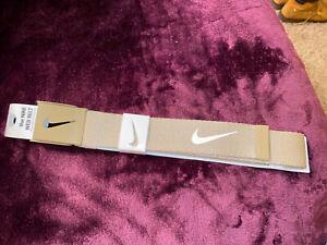 NWT Men's Nike Golf Tan Web Belt Adjustable To Size 42 Tiger Khaki