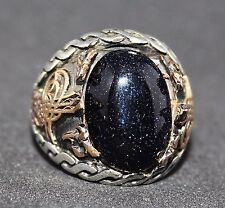 sterling silver 925 and bronze men ring. natural blue goldstone