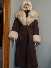 Norm Thompson Outfitters brown suede coat, fox collar and cuffs, 12, #869