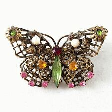 Unsigned WEST GERMANY Vtg Butterfly Brooch Pin Pearl Rhinestone Jelly Belly B64