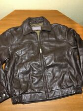 WILSONS GENUINE LEATHER AVIATION BOMBER JACKET MEN'S L BROWN GUC FREE SHIPPING