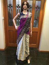 Indian Designer Saree Bollywood Party Wear Diwali Sari Dress Blue Purple Beige