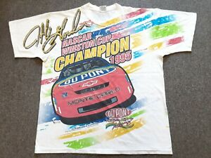 VTG 90s NASCAR Jeff Gordon 1995 Winston Cup Champion All Over Print T Shirt L XL